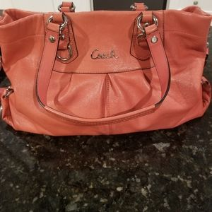 Coral Coach Ashley leather Carryall Satchel
